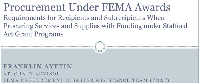 Procurement Under Fema Awards Presentation